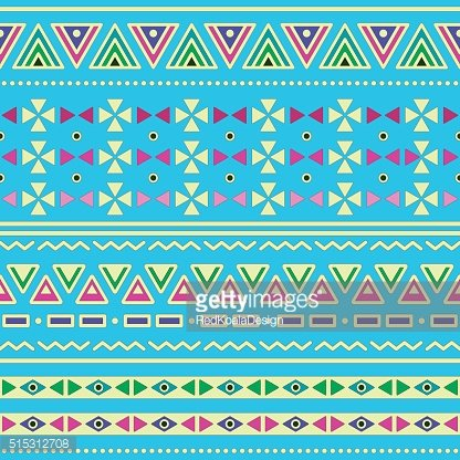 Tribal ethnic Aztec seamless pattern on blue background