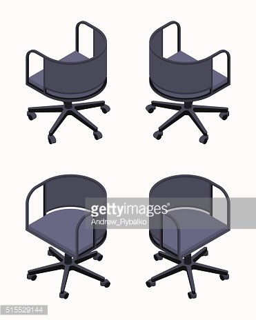 Isometric office spinning black chairs