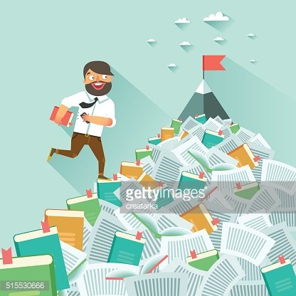 Man running up along stairs of books, concept of education
