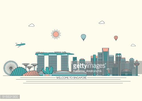 Singapore detailed Skyline. Vector background. line illustration. Line art style