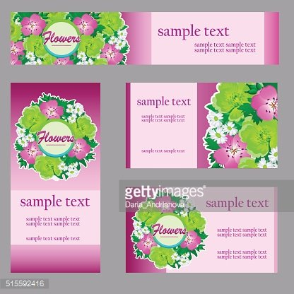 Set of four cards with floral pattern in pink