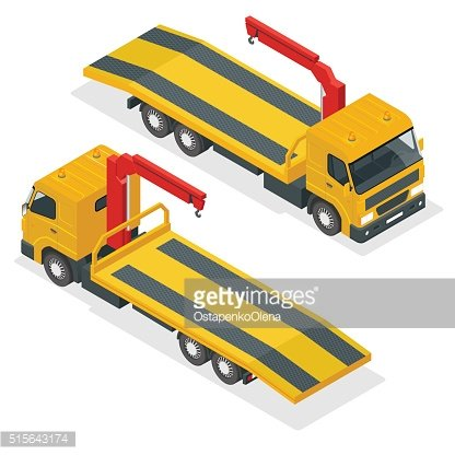 Tow truck for transportation faults and emergency cars. Isometric illustration.