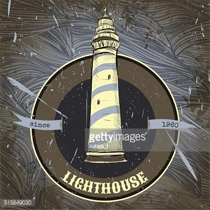Vintage poster with lighthouse on the grunge background.
