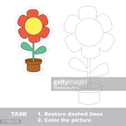 Flower to be traced. Vector trace game
