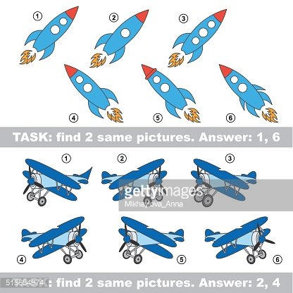 Visual game. Find hidden couple of Rocket and Plane