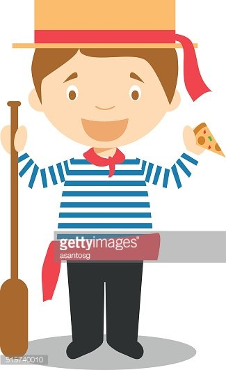 Character from Italy dressed as a Venice gondolier
