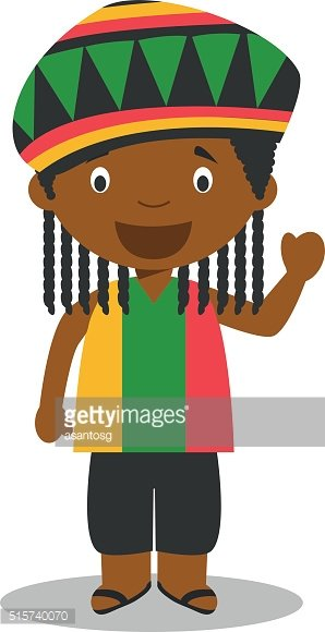 Character from Jamaica dressed in the traditional way with dreadlocks.