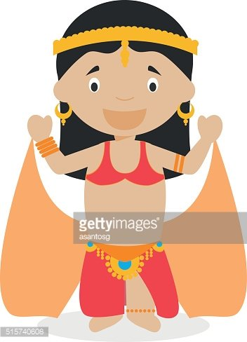 Belly dancer girl dressed in the traditional way Vector Illustration.
