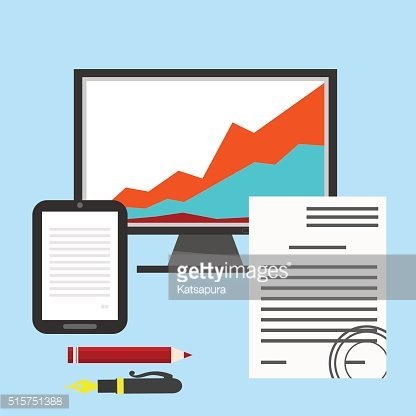 Blue background with charts. computers, monitors.Vector