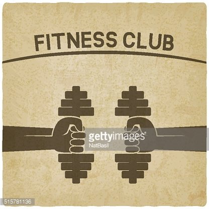 fitness club symbol. hands with dumbbells old background