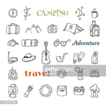 Hand drawn camping icon set. Collection of camping and hiking