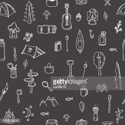 Hand drawn hike seamless pattern. Doodle camping elements