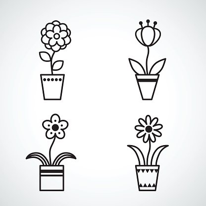 Set of flat icon flower icons silhouette isolated