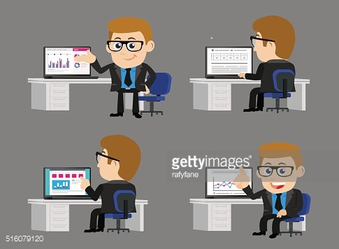 Businesspeople infront of his computer
