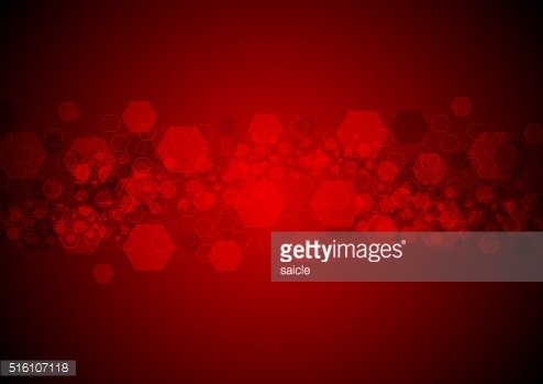 Bright glowing red hexagons tech background