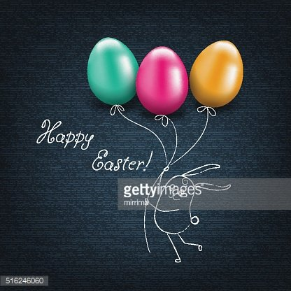 Happy Easter card with eggs.