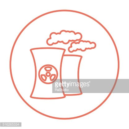 Nuclear power plant line icon