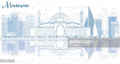 Outline Manama Skyline with Blue Buildings and Reflections.
