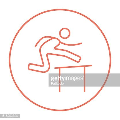 Man running over barrier line icon