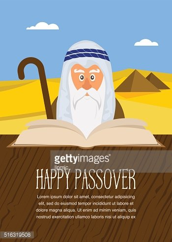 Moses reading Passover Haggadah on Egypt background