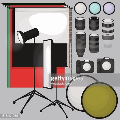 Set photo studio equipment, paper background, light flat icons,