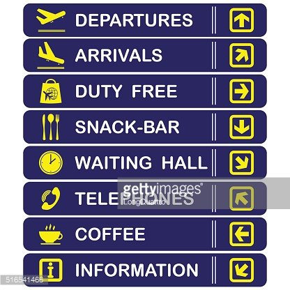 Airport blue banners
