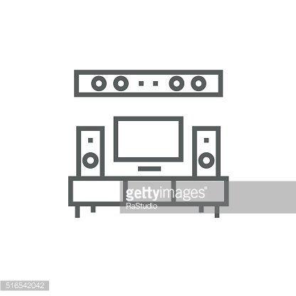 TV flat screen and home theater line icon