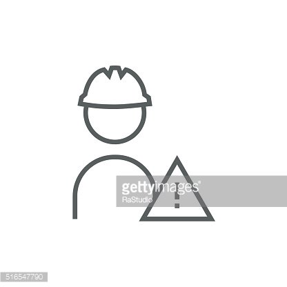 Worker with caution sign line icon