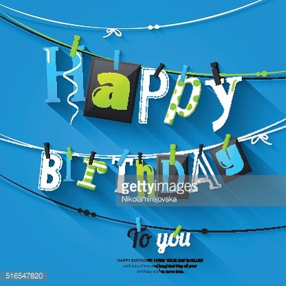 Birthday card. Clothespin and colorful letters hang on rope. Vector