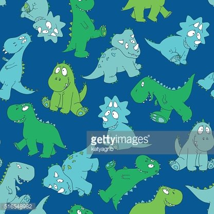 vector seamless graphical bright hand drawn baby dinosaur pattern