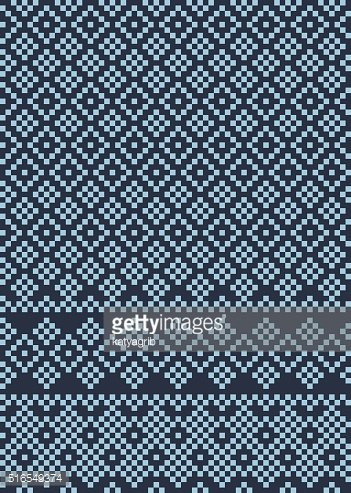 vector seamless geometric ethnic blue and black pattern