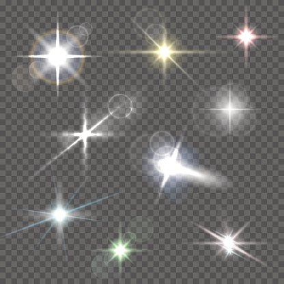 Realistic lens flares star lights and glow on transparent background