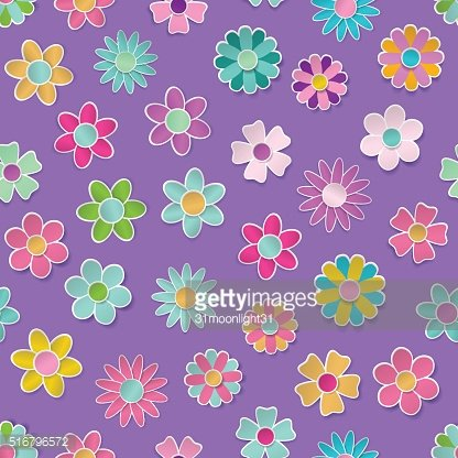 Seamless pattern of multicolored paper flowers
