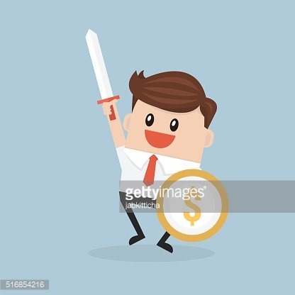 Businessman carrying a money shield and sword.