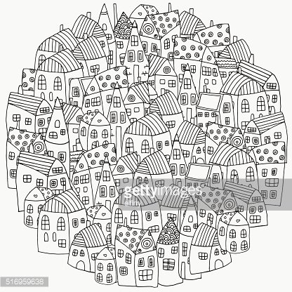 Pattern For Coloring Book With Artistically Houses Magic City