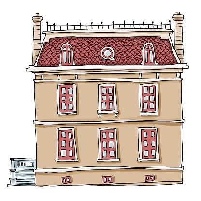 vintage house cute line art and painting