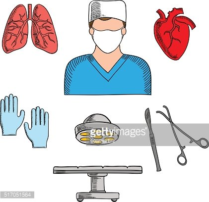 Surgeon profession and medical icons