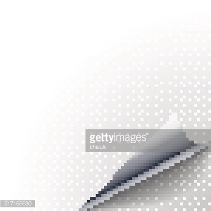 Vector silver metallic paper peel curled fold with shadow
