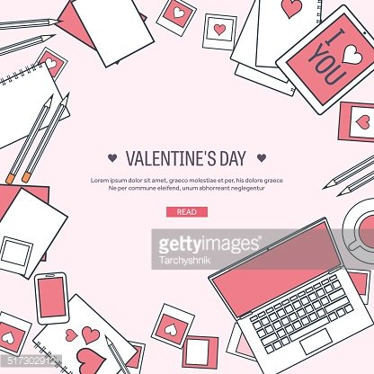 Vector illustration. Flat background with computer, laptop. Love, hearts. Valentines