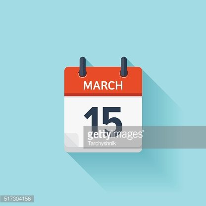 March 15. Vector flat daily calendar icon. Date and time