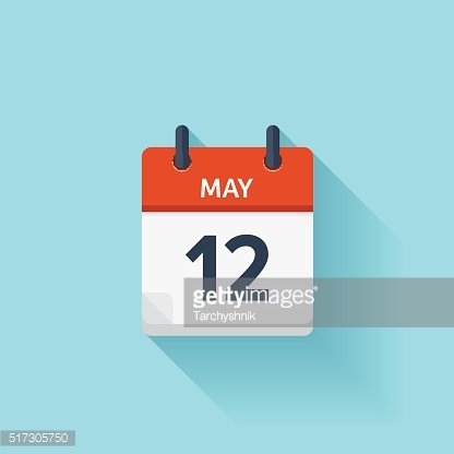 May 12. Vector flat daily calendar icon. Date and time