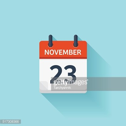 November 23. Vector flat daily calendar icon. Date and time