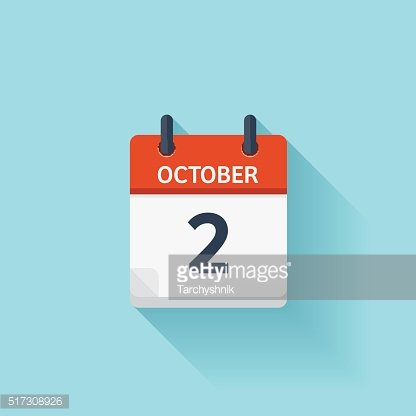 October 2 . Vector flat daily calendar icon. Date and ...