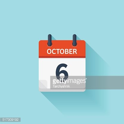 October 6 . Vector flat daily calendar icon. Date and ...