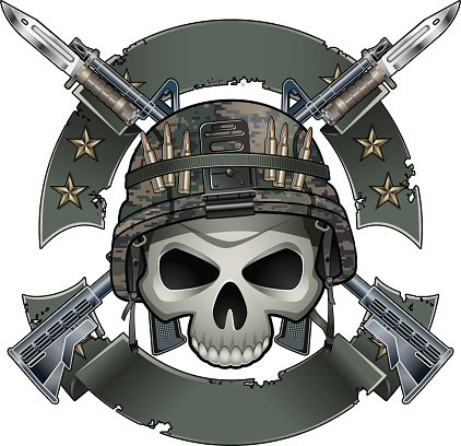 Skull With Army Helmet Crossing Assault Rifles With