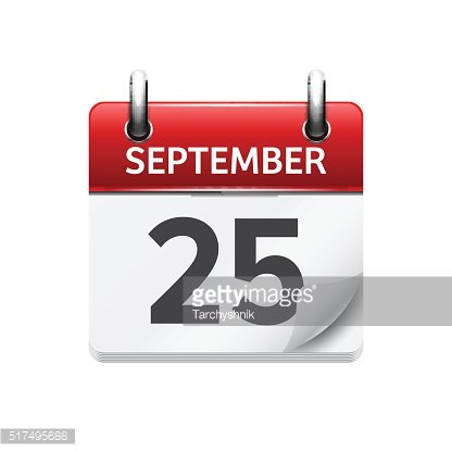September 25. Vector flat daily calendar icon. Date and time