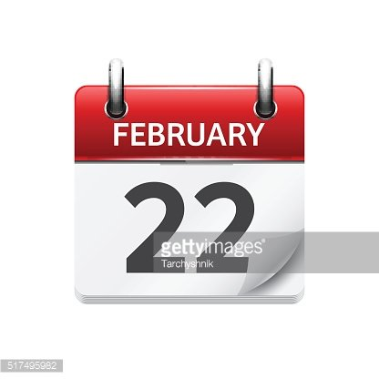February 22. Vector flat daily calendar icon. Date and time