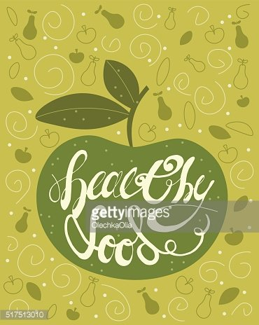 Handdrawn Lettering Calligraphic text Healthy Food with Green Apple. Vintage