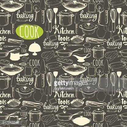 Seamless background with kitchen appliances and tools. Menu pattern.