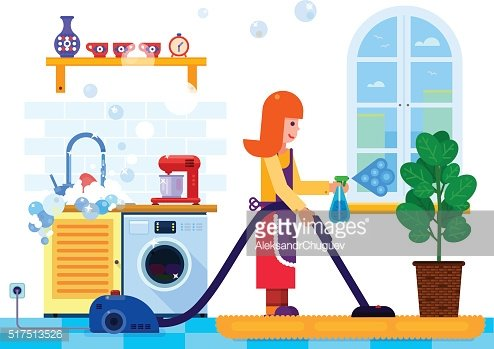 Vector illustration housewife woman